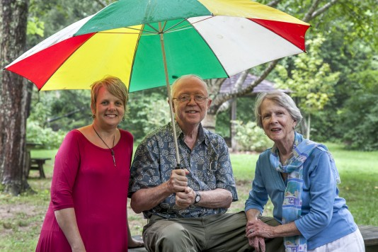 Mike Ross, Guest Editor, with fiction writer April Nance (left) and poet Jeanette Reid